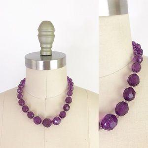 Vintage Purple Faceted Choker Choker Necklace 1078